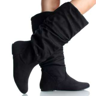 Scrunch Faux Suede Ladies Casual Fashion Womens Knee High Boots