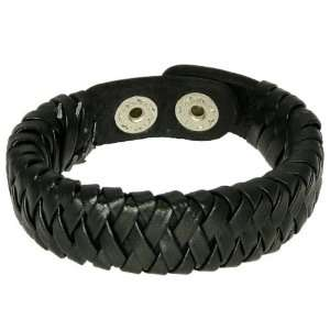 Black Leather Wristband Surf Bracelet With Plaited Leather Straps   12