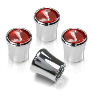 Ford Mustang Shelby Cobra Red Logo Chrome Tire Stem Valve