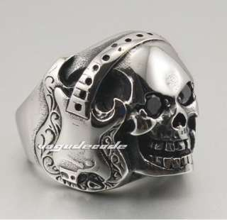 Rock & Punk 316L Stainless Steel Guitar Music Skull Men`s Biker Ring