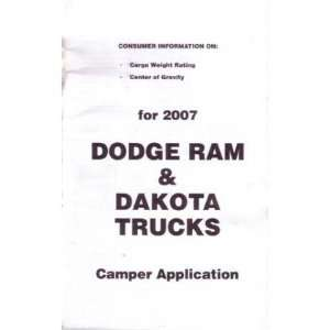 2007 DODGE RAM TRUCK DAKOTA Camper Owners Manual Automotive