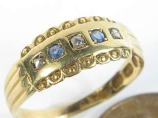 QUALITY ANTIQUE ENGLISH 18K GOLD SAPPHIRE DIAMOND RING