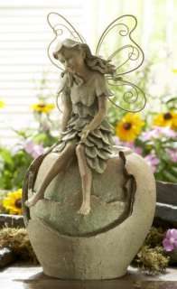 Fairy Sitting On URN WATER FOUNTAIN Indoor Outdoor