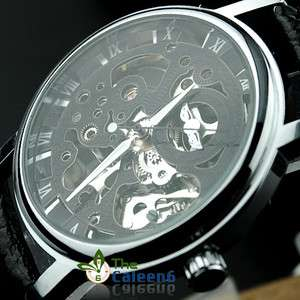 Leather Hollow Men Luxury Fashion Watches Black With Box 8049