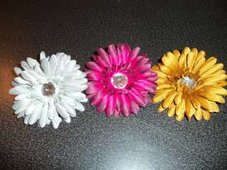 wholesale lot girls GERBER DAISY flower hair bow BURGANDY gold SILVER
