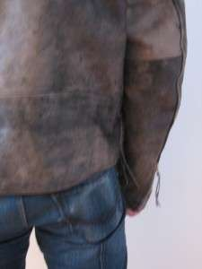vtg 70s FIRST GENUINE DISTRESSED LEATHER MANS MOTORCYCLE MOTO JACKET