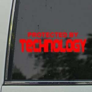 Protected By Technology Red Decal Truck Window Red Sticker