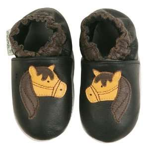 Momo Baby Soft Sole Baby Shoes   Horse Black 2 3 Years