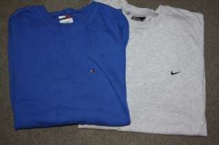 Hilfiger Nike Lot of 2 Mens Large Cotton T Shirts Embroidered Logo