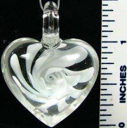 Murano Glass Clear and White Flower Heart Pendant