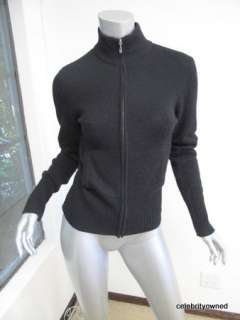James Perse Black Cashmere Long Sleeve Zip Up Sweater 2