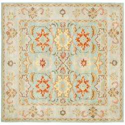 Handmade Treasures Light Blue/ Ivory Wool Rug (8 Square)