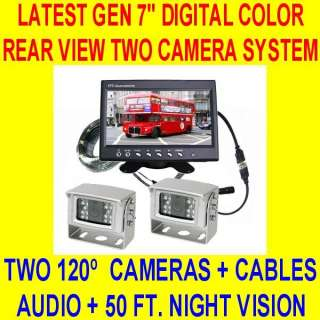 TWO CAMERA 7 REAR VIEW BACKUP SYSTEM TRUCK TRAILER RV