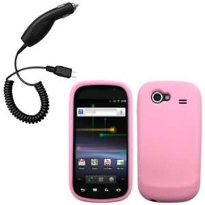 Light Pink Silicone Skin / Case / Cover & Car Charger for