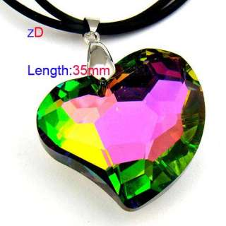 c9503 Colorful Spark Heart Love Bead Crystal Pendant Necklace Fashion