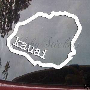 KAUAI ISLAND Outline Vinyl Decal Hawaii Sticker H107
