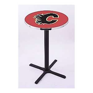 Calgary Flames HBS Pub Table with Black Wrinkle base L211