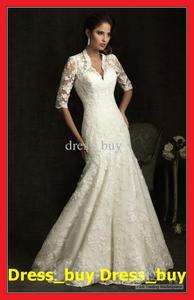 Lace Sleeve V neck Wedding Dress Bridal Gown Size 6 8 10 12 + + +