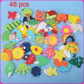 48 Mixed Wood Cartoon Fridge Magnets Kids Education Toy