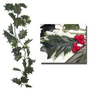 Club Pack Of 12 Green Variegated Holly Berry Christmas Garlands 6