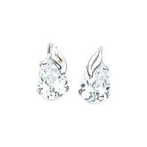 White gold Pear CZ Leaf Stud Earrings Jewelry Jewelry