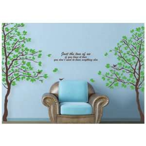 Decoration Wall Sticker Decal  Huge Brown Tree & Birds, Poem 80H*70W