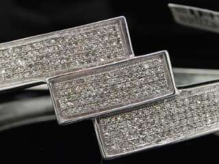 LADIES WHITE GOLD FINISH PAVE DIAMOND BANGLE BRACELET