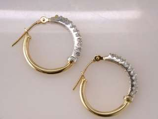 Genuine Diamond .25ct Two Tone Gold Hoop Earrings Jewelry
