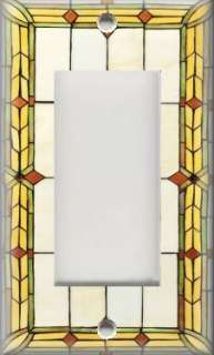 Light Switch Plate Cover   Art Nouveau   Stained Glass Pattern 03