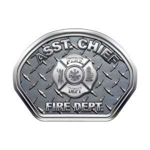Firefighter Fire Helmet Front Face Assistant Chief Diamond Plate Decal