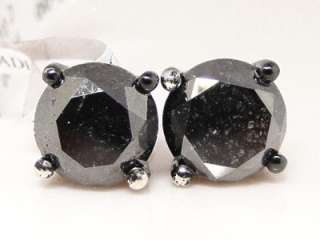 BLACK ON BLACK MENS LADIES XL BLACK DIAMOND SOLITAIRE STUD EARRINGS