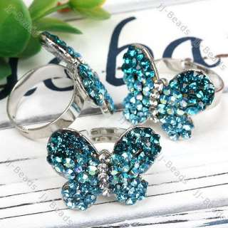 Blue Crystal Glass Rhinestone Butterfly Adjustable Ring
