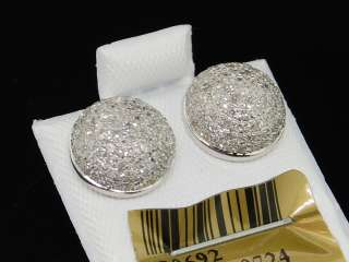 MENS WHITE GOLD CIRCLE CUBES 3 D DIAMOND EARRINGS STUDS