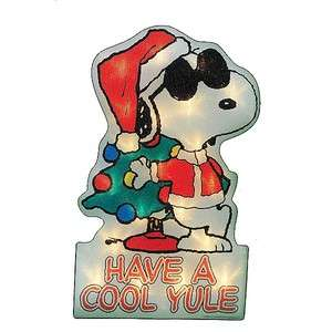 PEANUTS SNOOPY CHRISTMAS PRE LIT WINDOW DECOR NIB