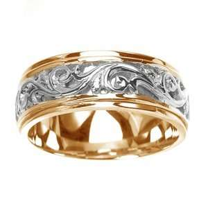 Mens 14k Two Toned Gold Engraved Handmade Wedding Band (8