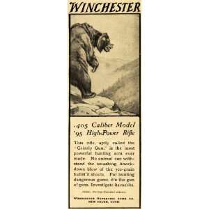 1907 Ad Winchester Repeating Arms Big Game Hunting Grizzly Bear Gun