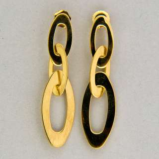 DESIGNER ROBERTO COIN 18K YELLOW GOLD TRIPLE OVAL LINK DANGLE EARRINGS