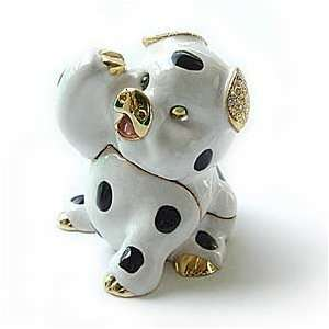 White Pig Box Swarovski Crystals 24K Gold Jewelry, Trinket or Pill Box