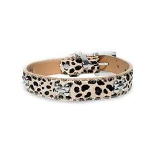 Chromebones Beige Leopard Print Leather Dog Collar with Sleek Dog