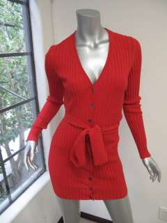 Dolce & Gabbana Lipstick Red Long Sleeve Ribbed Sweater W/Waist Tie 38