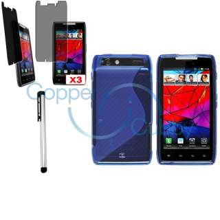 Blue TPU Rubber Skin Case+3x Privacy Filter+Stylus For Motorola Droid
