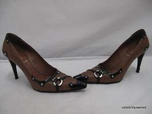 Prada Brown/Black Leather Silver Stud Pump Heels 37