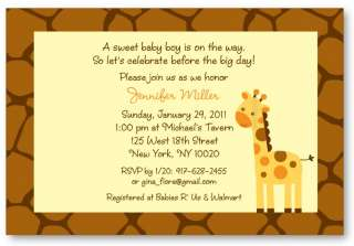 Neutral Giraffe Jungle Baby Shower Invitation Print Your Own Printable