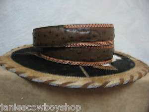 Leather Mens Western Belt Ostrich Print Brown/Peanut Brittle 1 1/2