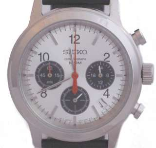 Mens Chronograph Watch SSB003P2 Black Leather Strap Silver Face Watch