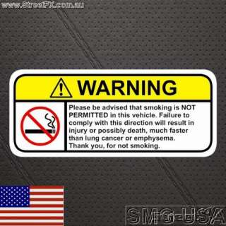 NO SMOKING Warning sticker decal for chev nissan bmw