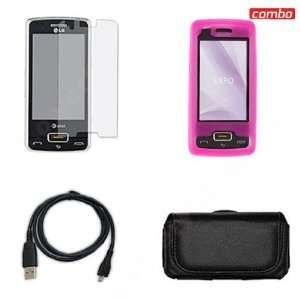 LG eXpo/GW820 Combo Trans. Hot Pink Silicon Skin Case