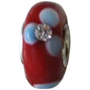 Glass Bead Red Crystal & Blue Flower Electronics