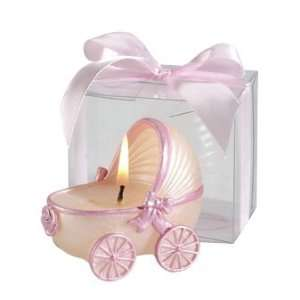 Wedding Favors   Pink Trim Baby Carriage Candle (Set of 20)