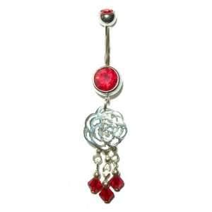 Surgical Steel Belly Button Ring with Cut out Rose and Silver chains